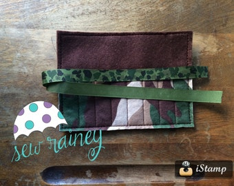 Camo Felt Crayon Roll NOT Personalized