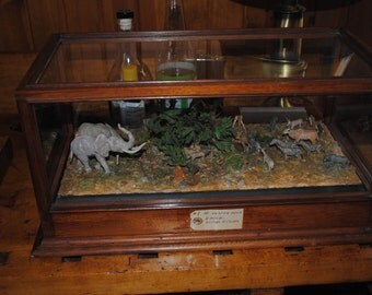 Vintage Diorama of African Watering Hole by Dr George H Childs former employee of American Museum of Natural History. FREE SHIPPING