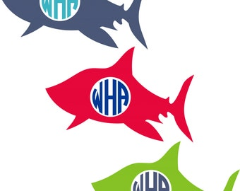 Shark Monogram Decal Set of 2