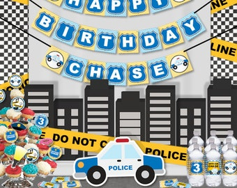Police Birthday Party Printable Cops & Robbers Party Decorations Supplies - Super Set Party Kit PK-29