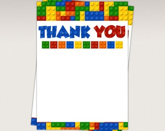 Instant Download - Colorful Blocks Thank You Card - Thank you Favor tags - Note Card