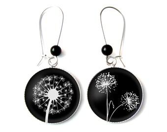 Dandelions earrings & Onyx beads