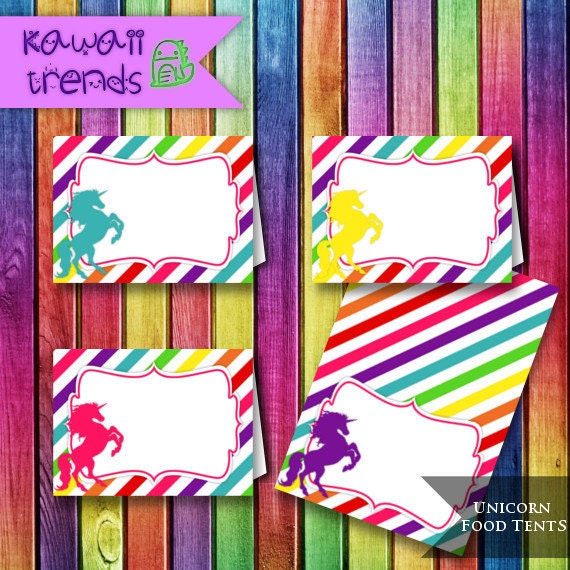 Unicorn Rainbow Food Tents Unicorn Party Food Cards Rainbow Place Holders INSTANT DOWNLOAD  sc 1 st  Etsy & Unicorn Rainbow Food Tents Unicorn Party Food Cards Rainbow