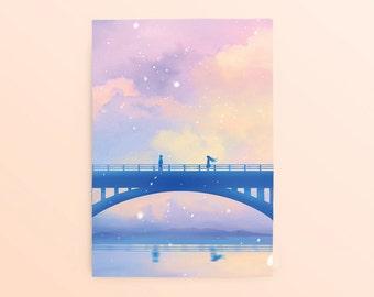 Romantic Love Postcard: Moment, Anime Postcard, Couple Postcard, Valentine Postcard, Pastel Postcard