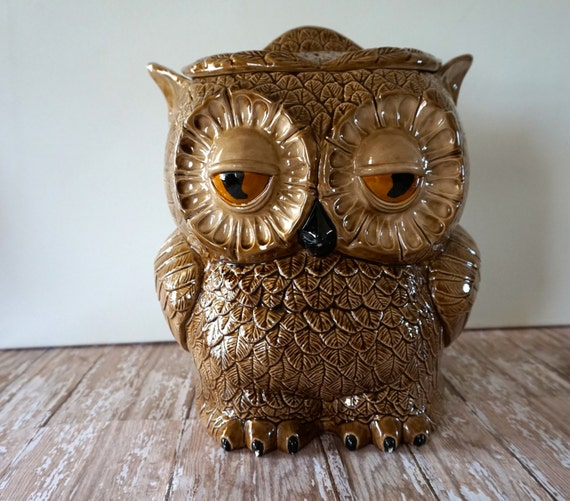 Vintage Owl Kitchen Decor: Vintage Sittre Owl Cookie Jar Large Treat Jar Owl Canister
