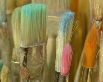 Artists Paint brushes close up colorful macro art craft studio decor soft pastel colors A3 wall art artist supply's still life photography