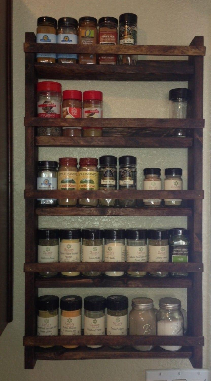 Rustic wood spice rack