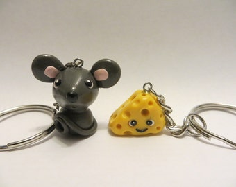 Mouse & Cheese Miniature - Best Friend Polymer Clay Keychains - Animal Figure