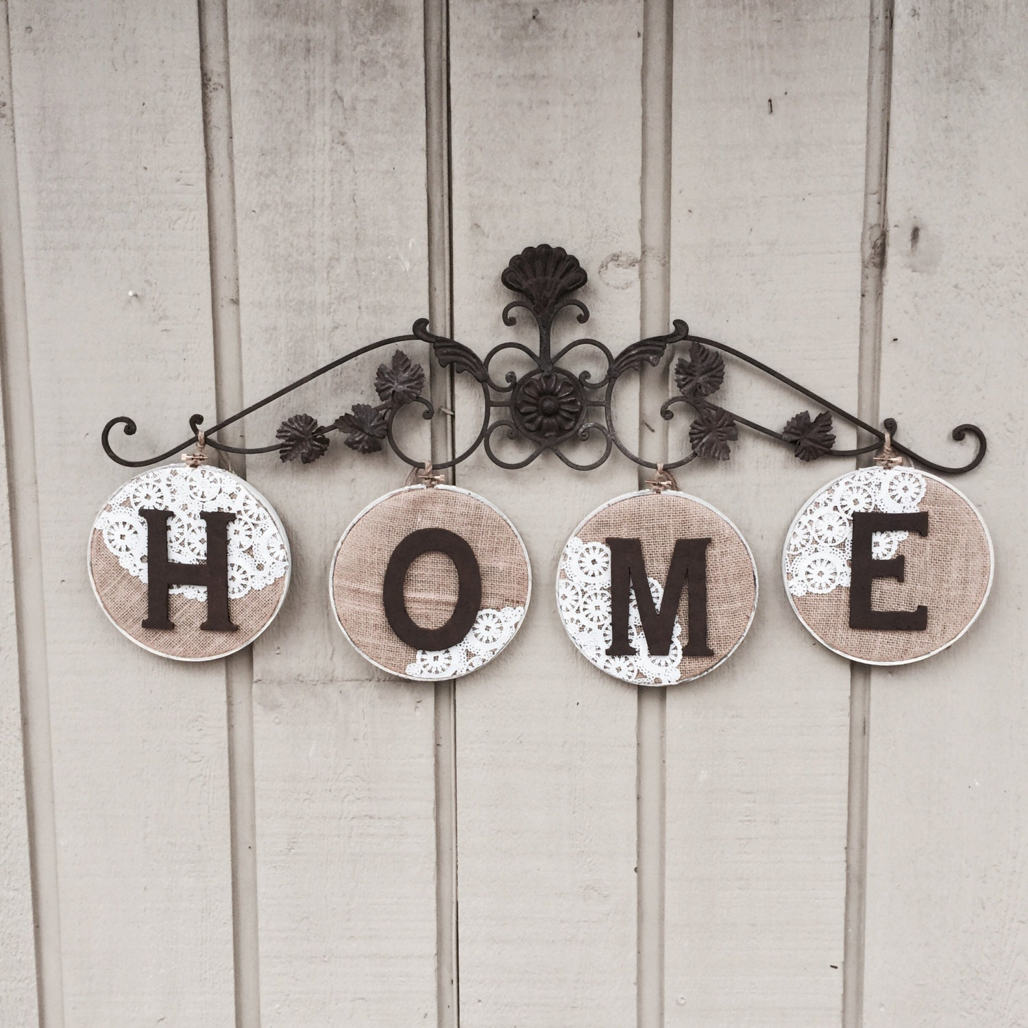 Wall Art Decor Letters Home Metal Burlap By DesignsByDacia On Etsy