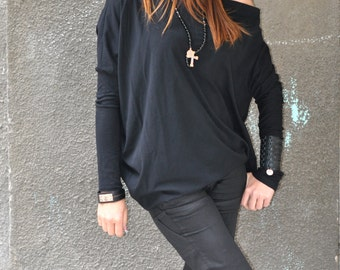 Loose Casual Black Blouse / Plus Size Black Top / Off the Shoulder Black Tunic / Long Sleeves Top  by EUGfashion
