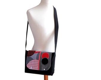 Bag shoulder bag black red white stars