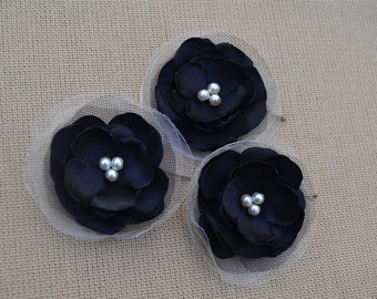 Black wedding hair flowers (set of 3) bridal hair accessory, bridal hairpiece, bridal hair clips,wedding hair accessories, wedding headpiece