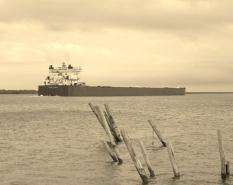 EDGAR B SPEER--Michigan Photography, Cargo Ship, Freighter, Ship, Boat, Great Lakes, Waterway, Landscape, Monochromatic, Ship Photography