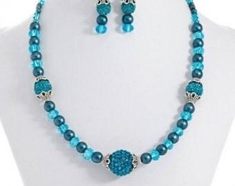 321. Teal Shamballa Light (Necklace + Earrings)