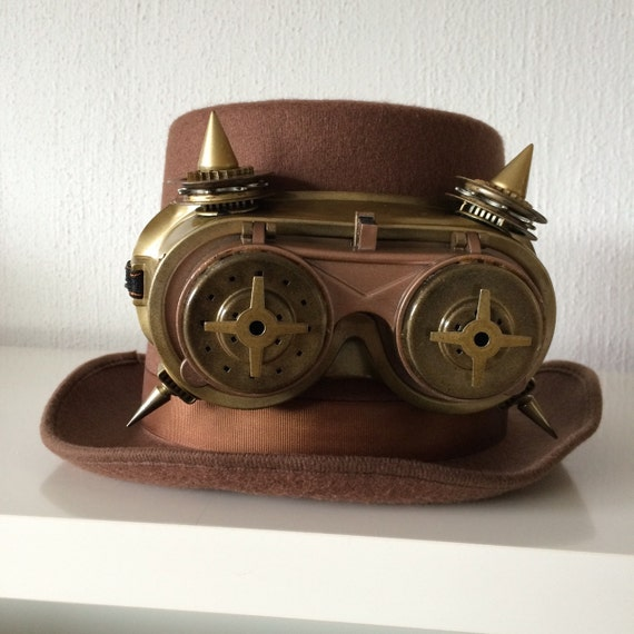 steampunk hat 1 with goggles by SteampunkWonders on Etsy