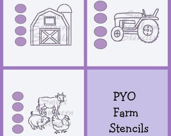 PYO Farm Cookie Stencils (3 separate stencils)