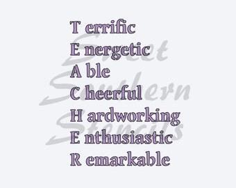 T.E.A.C.H.E.R Stencil