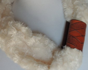 Handmade Leather Scarf Cuff with Argyle Design