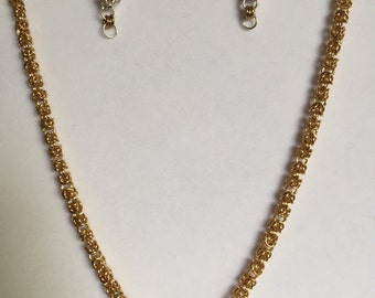 Silver & Gold Byzantine necklace and earrings set