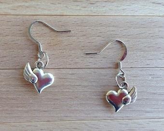 Winged Heart Earrings - Heart Charm Jewelry - Heart Earrings