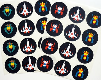 Galaga 24 Pack of Arcade Stickers : FREE SHIPPING