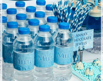 Frozen Party Water Bottle Labels