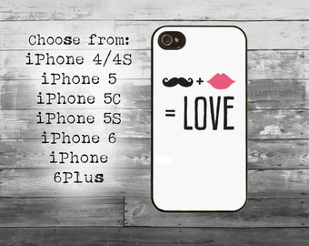 Moustache and lips love phone cover - iPhone 4/4S, iPhone 5/5S/5C, iPhone 6/6+, iPhone 6s/6s Plus case - mustache iPhone case