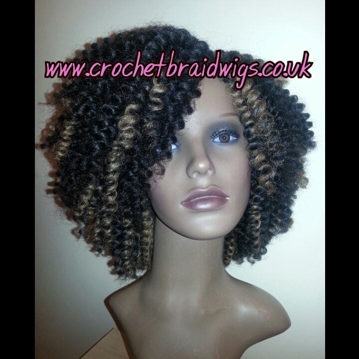 Crochet Wig : Crochet braid wig Handmade black with honey by CrochetBraidWigs