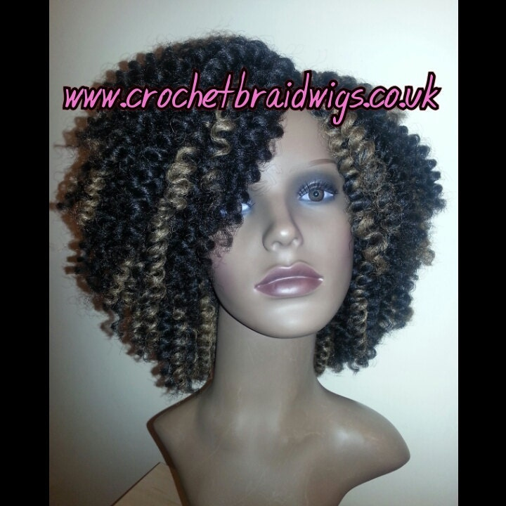 Crochet Braids Wig : Crochet braid wig Handmade black with honey by CrochetBraidWigs