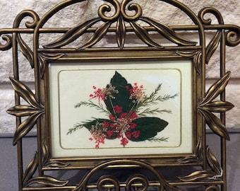 Pressed leaf mixed media framed art