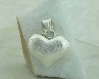Silver Heart Pendent, Sterling Silver heart charm, Silver Heart Necklace, Love Pendent, Sterling Silver Jewelry, mother gift, silver heart