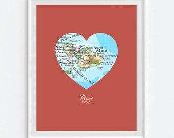 Maui Hawaii Heart Vintage Map ART PRINT, Maui Hawaii art map print poster, gift for couple,wedding gift, Christmas gift for her, honeymoon
