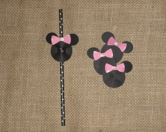 Pink Minnie Mouse Straw Toppers (TOPPER ONLY) Fits Standard Paper Straws.  Available in 12, 18, 24, 48