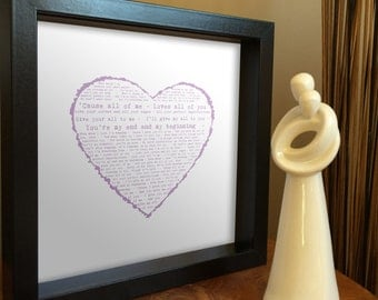 Anniversary gift for her - Framed Song Lyrics in Vintage heart with PERSONALISED MESSAGE - wedding first dance, our song, romantic present