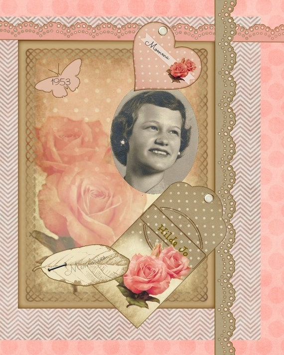 Polka-Dots & Rose Card /Scrapbook Elements Kit