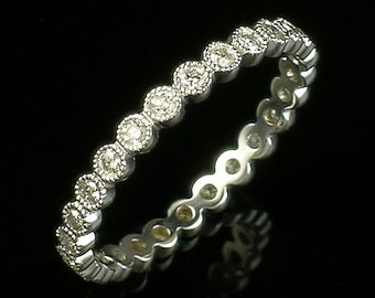 Art Deco Style Bezel set diamond mill grained stackable eternity wedding Band Set in 18k White gold size 6.00