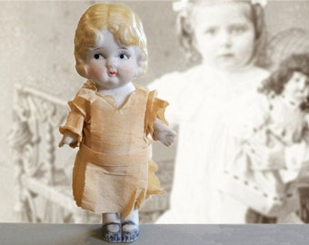 Vintage Bisque Doll in Paper Dress - Shirley Temple Lookalike - Circa 1930s
