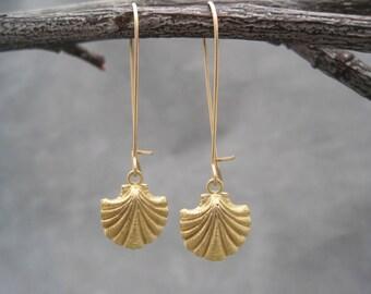 Scallop Shell Earrings - Gold Sea Scallops - Fan Shell - Earrings - Gold Ocean Charm -