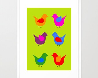 Scandinavian birds art print-Mid Century poster-Birds Decorative Print-Pop art print-Kids deco print-Large Original Print-Colourful print