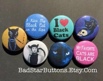 I Love Black Cats Button Set