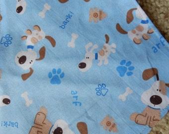 puppy bandana in extra small, small, medium, large, extra large, reversible, tie on dog bone bandana