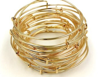 BARGAIN Bulk Expandable Wire Bangle Gold Plated Charm Bracelet - Single Loop