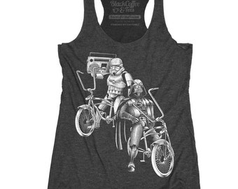 Star Wars Shirt - Bike Shirt - Women's Star Wars Bike Tank Top - Storm Troopers and Darth Vader Riding Bikes Hand Screen Printed on Tank Top