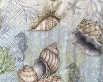 "Decoupage Napkins, Set of 3, Sea Treasures, 10"" x 10"" unfolded"