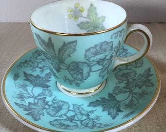 Wedgwood W3999 Wildflower Green Demitasse Teacup & Saucer Vintage