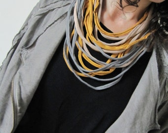 Necklace/scarf, t-shirt yarn necklace, recycled yarn necklace, gray, Beige and yellow.