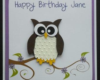Handmade Owl Birthday Card - Free Postage