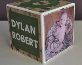 Personalized Baby Birth Announcement, Custom, Boy, Birthday, Wood Photo Block, Nursery Decor, Newborn Keepsake, Baby Gift, Hunting, Handmade