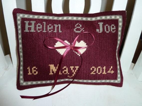 Wedding Ring Pillow cushion needlepoint bespoke bride bridesmaid