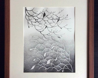 Balance, White and Black Lithograph Printmaking by MENGXUAN LIU